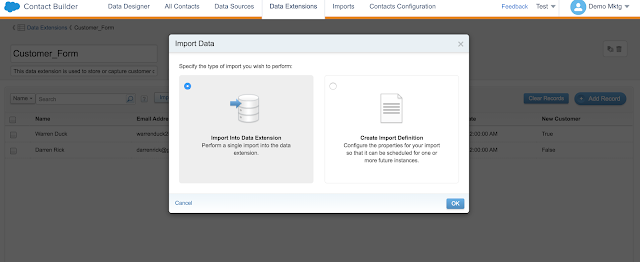 Load/Import Data into Data Extensions